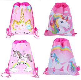 Wholesale 27 cm Unicorns Double Side Drawstring Bag Cartoon Non woven Fabric Backpacks Children s Birthday Gifts Travel Beach Bags Swimming Package