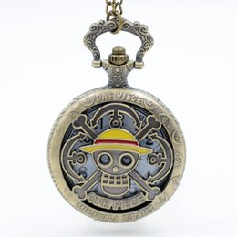Discount pirates watches - Fashion Hollow Style Personality One Piece Skull Pirate Mens Quartz Pocket Watch Retro Male Female Watch Gift relogio de