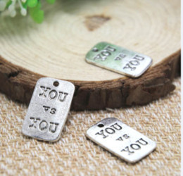 Wholesale 12pcs You v s You Charms Antique Tibetan silver Y o u v s Y o u Charms pendants x13mm