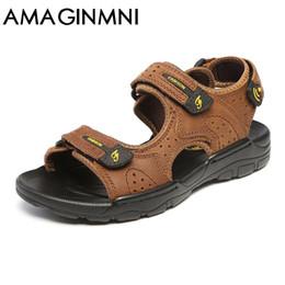 $enCountryForm.capitalKeyWord Canada - AMAGINMNI Hot Sale New Fashion Summer Leisure Beach Men Shoes High Quality Leather Sandals The Big Yards Men's Sandals Size38-44