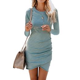 Long Sleeve Casual Bodycon Midi Wrap Mini Short Pencil T Shirt Dress Women  Summer Autumn 2018 Sexy Ladies Beach Party Dresses fa4498888f4b