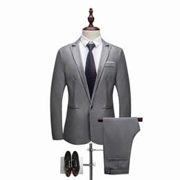 Discount dark blue gentlemen suits - 2018 setwell (Jacket+Pants+Vest) Classic Men Suits Slim Dark Blue Wedding Groom Wear Mens Suits Black Gentlemen Costume
