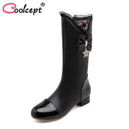 $enCountryForm.capitalKeyWord NZ - Coolcept Size 31-43 Woman High Heel Boots Fur Winter Warm Shoes Women Bowtie Half Short Boots Women Fashion Sweet Footwear