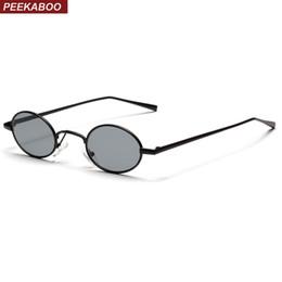 f219a77fbf Peekaboo negro pequeño oval gafas de sol mujeres retro 2018 marco de metal  amarillo rojo lente redondo vintage gafas de sol para hombres uv400