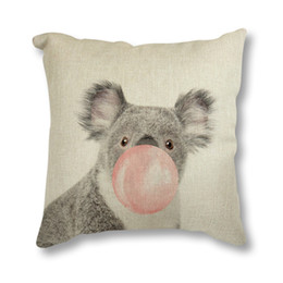 colorful home decor UK - Hot Sell Home Decor Seat Cushion Colorful Cute Animals Linen Cushion Throw Pillowcase 45x45 Living Room Sofa Decoration
