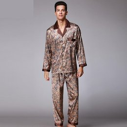 40dc531f8e Autumn Luxury Silk Pajamas Mens long sleeved Paisley Pattern Pyjamas Set Silk  Satin Nightwear Soft Sleepwear Nightgown Plus Size