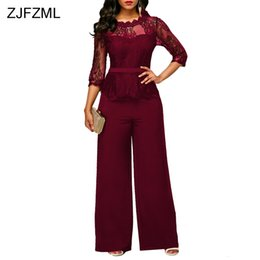 b56991979fc ZJFZML 2017 Lace Crochet Sexy Bandage Jumpsuit Women Three Quarter Sleeve  Full Wid Leg Overall Autumn Hollow Out O-Neck Rompers