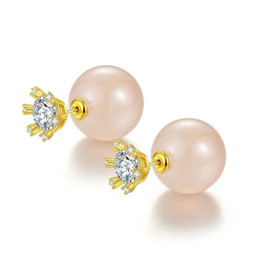 e33a45a1b Elegant Women Earrings for Party Wedding Yellow White Gold Plated CZ  Crystal Ball Double Sides Earrings for Girls Women Hot Gift