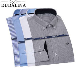 dudalina clothing Canada - Dudalina 2018 Men Shirt Plus size Long Sleeve Men Striped Plaid Shirts Casual Spring Autumn Classic Quality Men Clothes Camisa