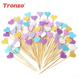 Cupcakes Mix NZ - Tronzo 40pcs Cupcake Toppers Golden Mix Color Heart Star Paper Cake Toppers Children Favors Decorations For Wedding Baby Shower