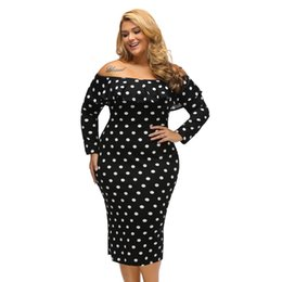 2018 New autumn big size fat women s Off-shoulder dress tube top long  sleeve ruffled word collar strapless hip Party Evening dress 224aa66894e1