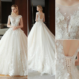 Wedding Dresses Flowered Embroidery Australia - 2019 New designer Arabic ball gown wedding dresses plus size modest sheer neck embroidery 3D flowers lace tulle corset bridal wedding gowns