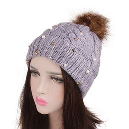 37abd2138e2 DeRuiLaDy 2018 Autumn Female Ball Beanie Hat Winter Cap For Women Pompom Hats  Womens Beaded Rhinestone Skullies Caps