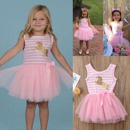 ce3a0272ac45 Striped tulle dreSS online shopping - Girls Unicorn gauze dress Kids  Sleeveless Bow Cartoon Sequins Unicorn