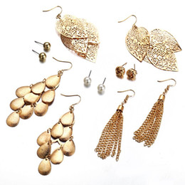 pear stud earrings Australia - 2018 New Gold Leaf Earrings One Set With 6 Pairs Hollow Out Leaf And Pear Stud Fashion Chain Ear Drop