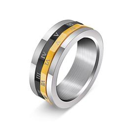 e77461b15f5f Anillo de números romanos nunca se desvanecen anillo giratorio para hombres  Mujer Anillo de cola color