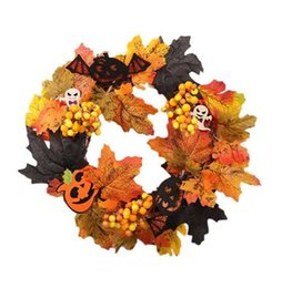 Artificiale foglia d'acero Ghost Flower Wreath Halloween Home Party Decorations