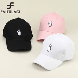 Little Hats Australia - 1Pcs Love Gestures Finger Embroider Golf Baseball Cap Men Women Snapback Hats Flipper Little Heart Love Sun Truck Hat Gorras