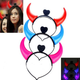 synthetic hair wholesalers NZ - Glowing Horn Hair Clasp Hoop Party Headdress The Devil Horns Lights Opening Gifts Toys Wholesale Stalls For Halloween And Christmas