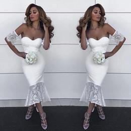 $enCountryForm.capitalKeyWord NZ - Sexy Dubai Maid Of Honor Dresses Attractive Sweetheart Lace Applique Short Sleeve Wedding Party Gowns Stylish Hi-Lo Mermaid Bridesmaid Dress