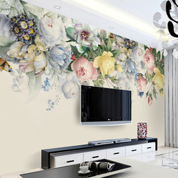 art paper sizes Australia - Custom Size 3D Mural Wallpaper European Style Floral Living Room TV Backdrop Photo Wall Paper Hand Painted Rose Flower Art Mural