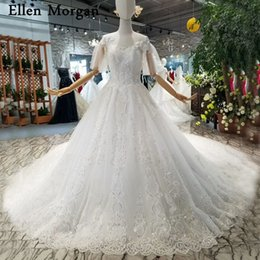 $enCountryForm.capitalKeyWord NZ - Elegant Lace Ball Gowns Wedding Dresses 2018 Cap Sleeves Boat Neck Corest Beaded Custom Made Real Photos Bridal Gowns for Women