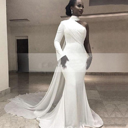 Wholesale pink ribbon t shirts for sale – custom Sexy Mermaid Nigerian One shoulder Evening Dresses with Ribbon Wrap South African Kaftan Chiffon Train Prom Dresses Long Sleeves