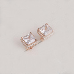 Gold Timeless NZ - 925 Silver Beads Timeless Elegance Earrings Fits European Pandora Style Studs Jewelry Bracelets & Necklace Clear CZ Rose Gold Plated