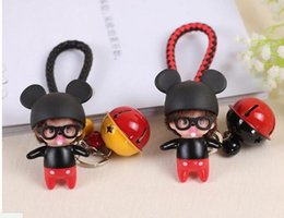 Wholesale Key Chain Cartoon Doll with Bell and Strips Bag Charm Car Cell Phone Pendant Decor Ornament Key Ring with Chain Gifts for Her