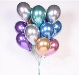 pink gold party decorations NZ - Metal Color Latex Balloon 12 inches Thickening Pearl Chrome Gold Balloon Wedding Party Silver Purple Blue Green Pink Decoration Balloon