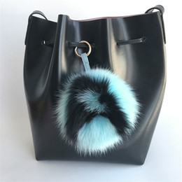"$enCountryForm.capitalKeyWord Canada - Blue black -6"" Large Soft Real Fox Fur Pom Pom Ball Initial Letter""A"" ABcharm Bag Charm Keyring(color an custom)"