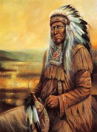 $enCountryForm.capitalKeyWord Australia - American Indian Chief Portrait Art Canvas Handpainted Portrait Oil Painting Soux Indians Red India On Canvas Multi Sizes Wc012