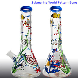 $enCountryForm.capitalKeyWord Australia - Submarine World Pattern Glass Bong Super Thickness Bright Color Beaker Bongs Recycler Oil Rig wax water pipe bubbler Hookahs Free DHL