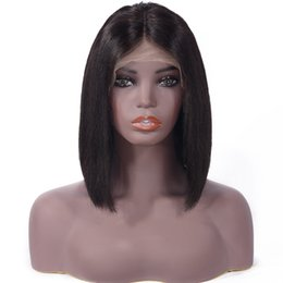 glueless lace wigs for black women NZ - Brazilian Virgin Human Hair Full Lace Wig Straight Lace Front Wig Short Bob Hair Glueless Full Lace Wig Wavy For Black Women