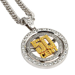 spinning pendant NZ - Hip Hop Men's Jewelry Spin 50 Cent Pendant Necklace With 80cm Zinc Alloy Fashion Unique Personalized For Men Women Gift
