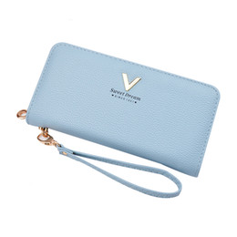 handy wallets Australia - Women Purse Leather Wallet Female Coin Purse Long Wristlet Candy Color Handy Bag Clamp For Money Fashion Letter Ladies Wallet