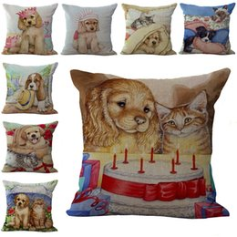 $enCountryForm.capitalKeyWord Canada - Cute Pet Animal Birthday Cat Dog Pillow Case Cushion cover linen cotton Square Throw Pillowcase Cover Home sofa Decor Christmas Gift 240476