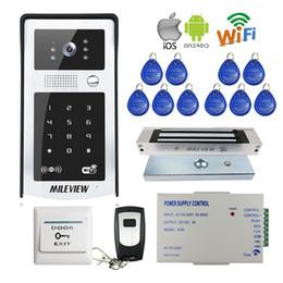 rfid doors 2019 - FREE SHIPPING RFID Code Keypad Wifi 720P Video Door Phone Intercom Outdoor Camera for Android IOS Phone + Electromagneti