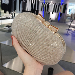 Wholesale 2018 Sparky Pleated Women Bridal Hand Bags For wedding Gold Evening Clutches Chain Bag Applique In Stock Bridal Bags Party Blingbling