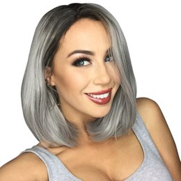 gray lace front human hair wigs UK - Hot Brazilian 1b#Grey Bob Full Lace Human Hair Wigs Straight Silver Gray Glueless Front Lace Wigs with Bleached Knots ombre Gray Bob Wig