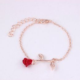 snake woman costume 2019 - Rose Charms Bracelets for Elegant Women Silver Gold Color Chain Cuff Bracelet Bangle Wedding Party Costume Jewelry pulse