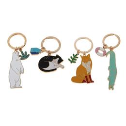 cat key jewelry 2019 - Polar Bear Fox Cat Crocodile Key Chain Enamel Animal Keyring Charm Jewelry cheap cat key jewelry