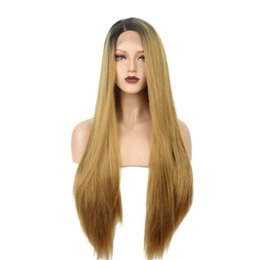 straight blonde wig roots 2018 - Fashion Synthetic Lace Front Wig Natural Long Silky Straight Wigs Black Root Ombre Blonde 2 Tones Color Wigs Middle for
