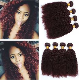Discount remy virgin hair red - Kinky Curly Peruvian Burgundy Human Hair Bundles 4Pcs Pure 99J Wine Red Virgin Remy Human Hair Weaves Curly Hair Wefts E