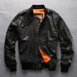 Wholesale genuine leather bomber men jacket for sale - Group buy 3 colours AVIREXFLY Men genuine Leather jackets flight bomber jacket Men Jackets Sheepskin Baseball suit