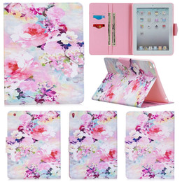 $enCountryForm.capitalKeyWord Australia - Fashion Watercolor Flowers Painting Wallet PU Leather Stand Flip Case for Apple iPad 2 3 4 Bag for iPad Air 2