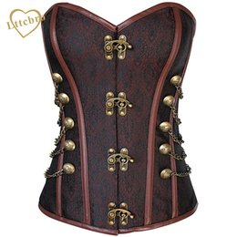 $enCountryForm.capitalKeyWord NZ - Waist Overbust Corset Steel Boned Corset Top Steampunk Corset Bustiers With Chain Gothic Bustier Spiral Boned Brown And Black