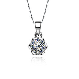 Discount t necklace - Classic 1Ct T-Brand Pendant Round Cut Synthetic Diamonds Pendant 925 Sterling Silver Pendant Necklace White Gold Color J