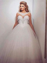 $enCountryForm.capitalKeyWord NZ - 2019 New Bling Ball Gown Wedding Dresses with Bateau Neckline Sweetheart Neck Illusion Beading Glass Crystals Tulle Elegant Bridal Gowns 022