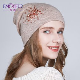 Beanies For Winter Australia - ENJOYFUR Winter knitted hats for women warm lining rhinestones beanies hat female brand new good quality angora wool caps S18101708